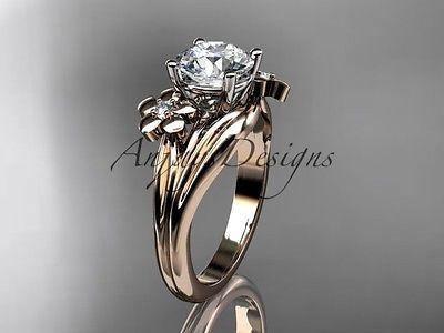 "14k rose gold diamond engagement ring ""Forever One"" Moissanite ADLR159"