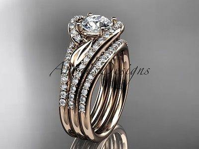 14k rose gold diamond wedding ring, engagement ring, double band ADLR317S