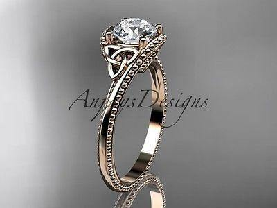 14k rose gold celtic trinity knot wedding ring, engagement ring CT7322 - Vinsiena Designs
