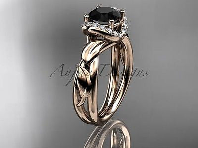 14k rose gold diamond leaf engagement ring, enhanced Black Diamond ADLR289
