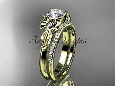14k yellow gold diamond unique engagement set, wedding ring ADER154S - Vinsiena Designs