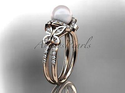 14k rose gold diamond pearl unique engagement ring,butterfly wedding ring AP141 - Vinsiena Designs