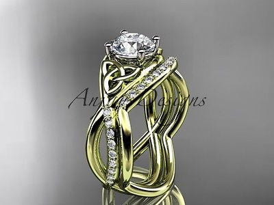 14k yellow gold celtic trinity knot engagement set,wedding Moissanite CT790S