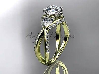 Unique 14kt yellow gold diamond wedding ring, engagement ring ADLR318 - Vinsiena Designs