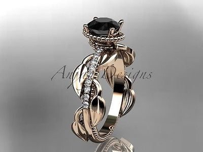 14k rose gold diamond leaf, vine engagement ring, enhanced Black Diamond ADLR231 - Vinsiena Designs