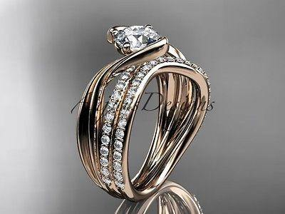 14k rose gold diamond leaf and vine wedding ring, engagement set ADLR78S