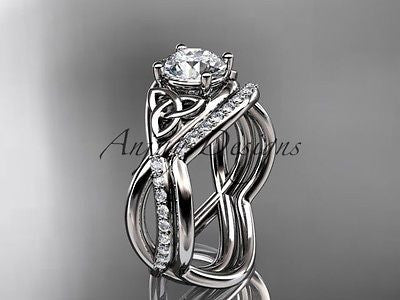 Platinum celtic trinity knot engagement set, wedding ring Moissanite CT790S