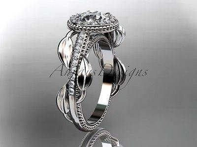Platinum diamond leaf and vine engagement ring, wedding ring ADLR229P - Vinsiena Designs