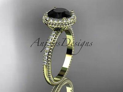 14k yellow gold diamond unique engagement ring,  with a Black Diamond ADER95 - Vinsiena Designs