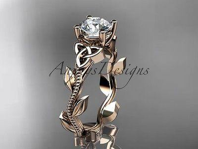 14k rose gold diamond celtic trinity knot wedding band, engagement ring CT7238