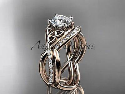 14k rose gold celtic trinity knot engagement set, wedding ring CT790S