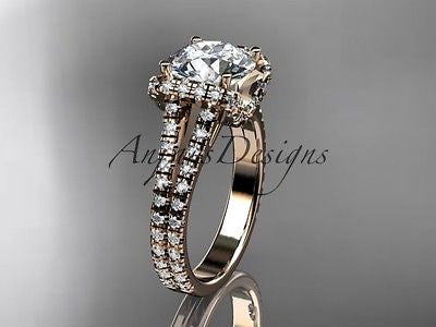"14k rose gold diamond unique engagement ring ""Forever One"" Moissanite ADER107"