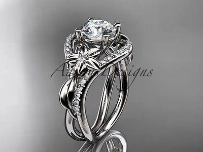 Unique platinum diamond leaf and vine wedding ring, engagement ring ADLR244 - Vinsiena Designs