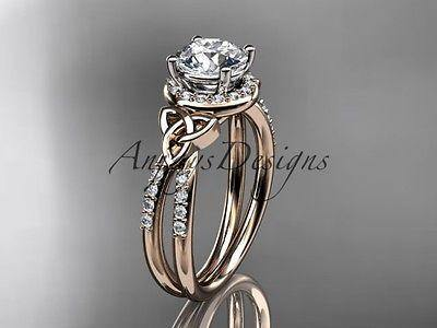 14k rose gold diamond celtic trinity knot wedding ring, engagement ring CT7373