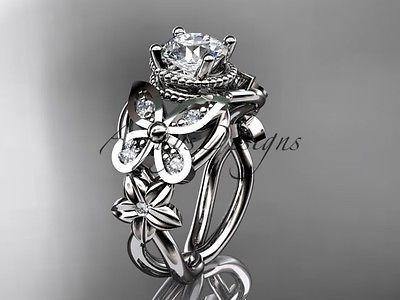 14kt white gold diamond floral, butterfly wedding ring, engagement ring ADLR136 - Vinsiena Designs