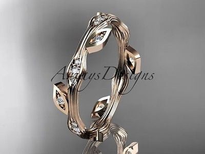 14k rose gold diamond leaf and vine engagement ring, wedding band ADLR41