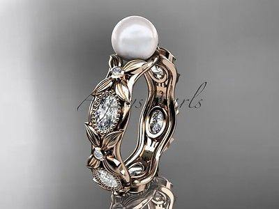 14k rose gold diamond pearl unique engagement ring, wedding ring AP152
