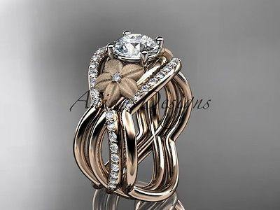 "14k rose gold diamond, engagement ring ""Forever One""Moissanite ADLR90"