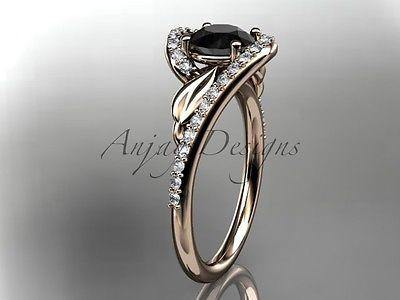 14k rose gold diamond leaf, vine engagement ring, Enhanced Black Diamond ADLR317