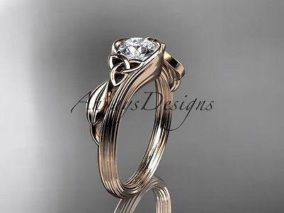 14k rose gold diamond celtic trinity knot wedding ring, engagement ring CT7324
