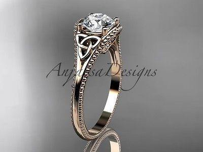 14kt rose gold celtic knot wedding ring, Moissanite, engagement ring CT7375 - Vinsiena Designs