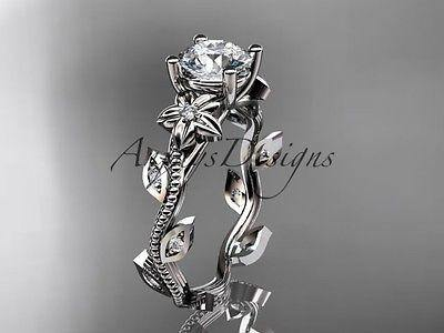 Platinum diamond leaf and vine wedding ring, engagement ring  ADLR151 - Vinsiena Designs