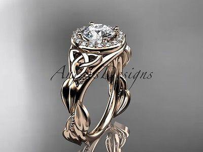 14k rose gold diamond celtic trinity knot wedding ring, engagement ring CT7327