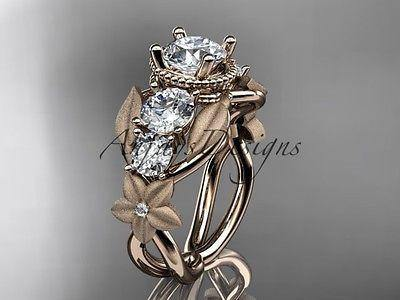 14k rose gold diamond  leaf and vine wedding ring, engagement ring ADLR69