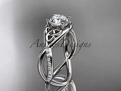 Platinum celtic trinity knot engagement ring, wedding ring Moissanite CT790