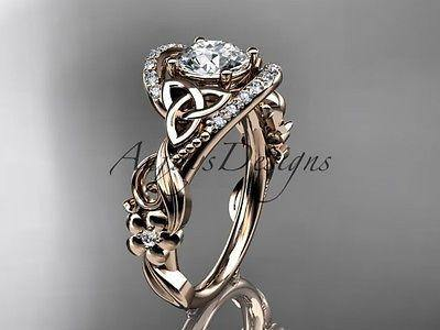 14k rose gold diamond celtic trinity knot wedding ring, engagement ring CT7211