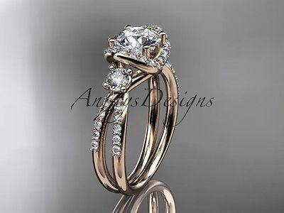14k rose gold diamond unique engagement ring, wedding ring  ADER146