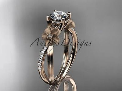 "14k rose gold diamond floral engagement ring ""Forever One"" Moissanite ADLR214"