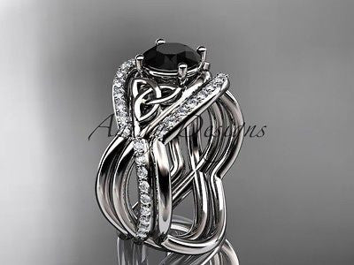 Platinum celtic trinity knot wedding set,double band Black Diamond CT790S