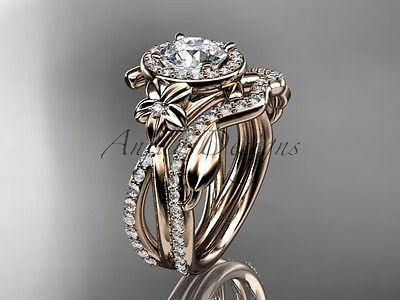 "14k rose gold diamond  engagement set ""Forever One""Moissanite ADLR89"