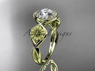 Unique 14kt yellow gold diamond flower wedding ring, engagement ring ADLR219 - Vinsiena Designs