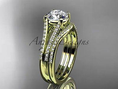 14k yellow gold diamond unique engagement set, wedding ring, Moissanite ADER108S - Vinsiena Designs