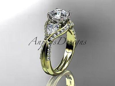 Unique 14kt yellow gold diamond wedding ring, engagement ring ADLR319 - Vinsiena Designs