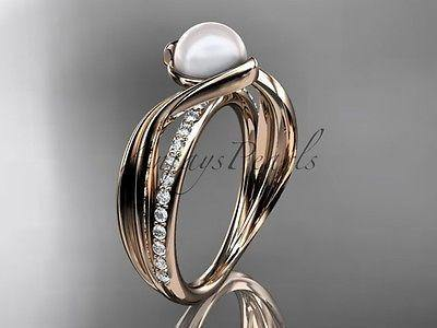 14k rose gold diamond pearl vine and leaf engagement ring AP78