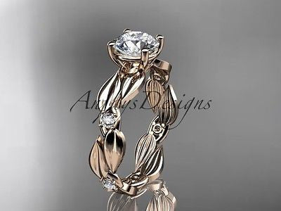 14k rose gold diamond leaf and vine wedding ring, engagement ring ADLR58