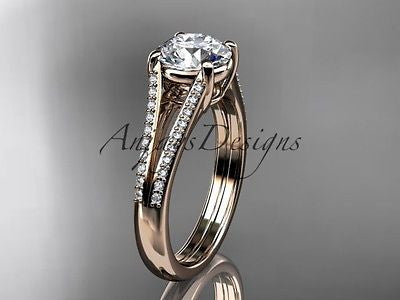 "14k rose gold diamond unique engagement ring ""Forever One"" Moissanite ADER108"