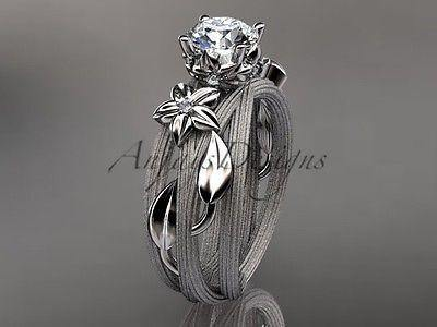 14kt white gold diamond floral, wedding ring, engagement ring ADLR253 - Vinsiena Designs