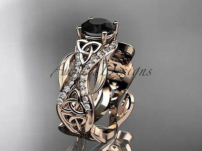 14k rose gold celtic knot engagement ring, enhanced Black Diamond CT7515