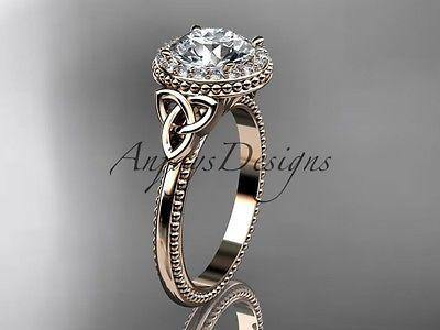 14k rose  gold diamond celtic trinity knot wedding ring, engagement ring CT7157