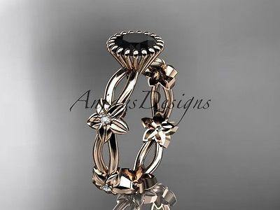 14k rose gold diamond leaf and vine wedding ring, with a Black Diamond ADLR19D - Vinsiena Designs
