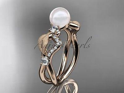 14k rose gold diamond pearl vine and leaf engagement ring AP68