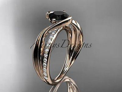 14k rose gold diamond engagement ring with Black Diamond ADLR78