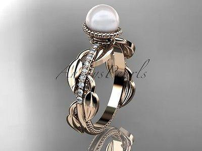 14k rose gold diamond pearl, leaf and vine engagement ring AP231