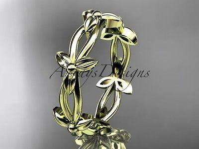 14k yellow gold leaf and vine wedding ring, engagement ring ADLR19C - Vinsiena Designs