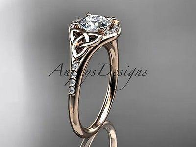 14k rose gold diamond celtic trinity knot,engagement ring Moissanite CT7126