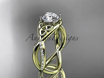 14k yellow gold celtic trinity knot engagement ring,wedding Moissanite CT790